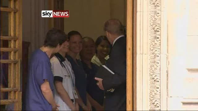 News video: The Duke walks unaided from the London Clinic